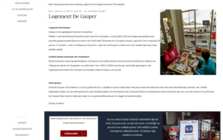 Wordpress website Hotel Logement De Gaaper Amersfoort