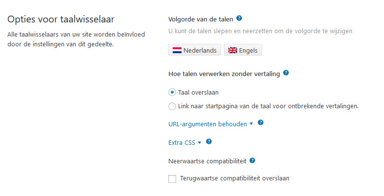 Meertalige WordPress Website WPML Opties Taalwisselaar