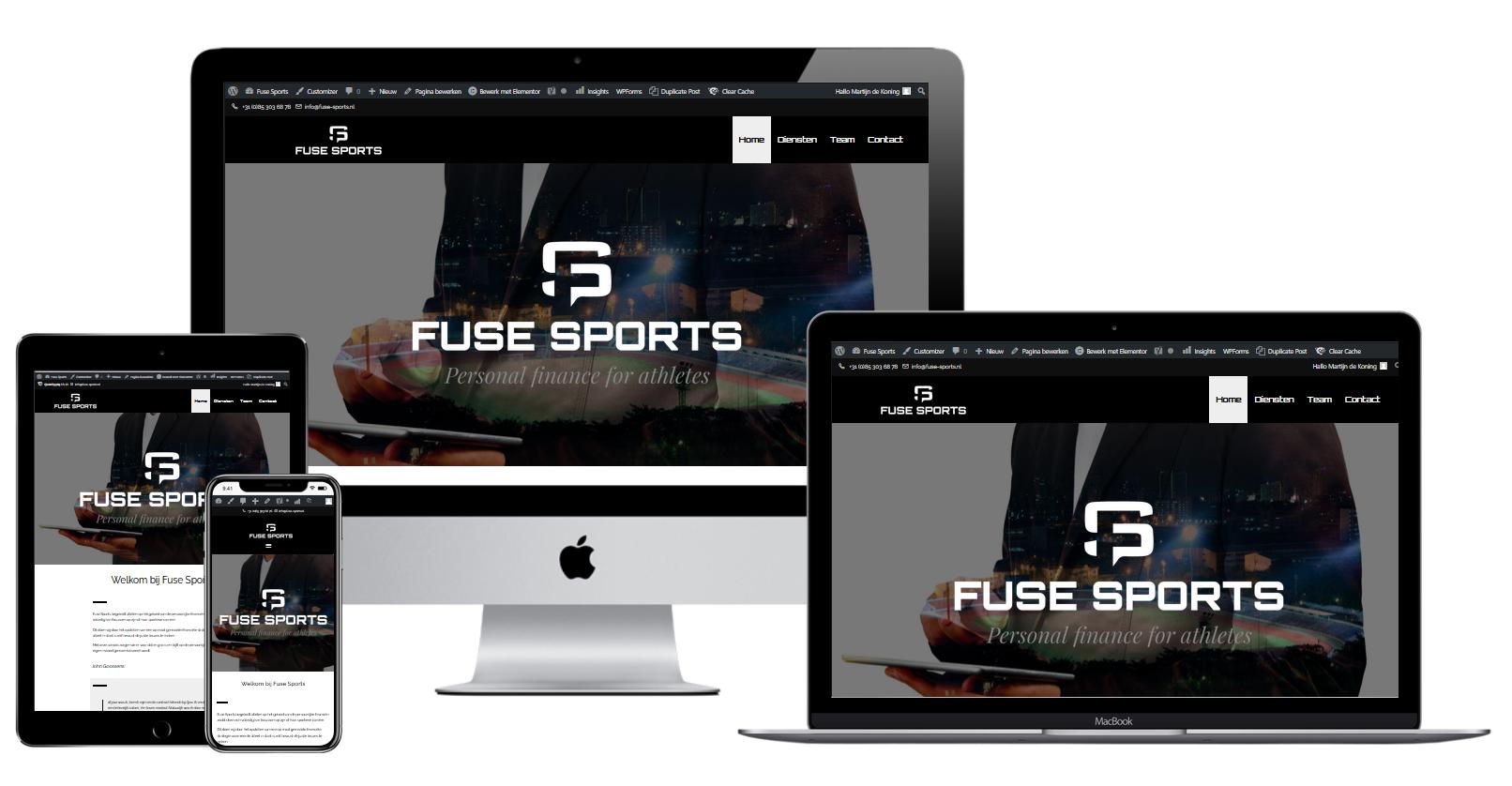 Wordpress website voor Fuse Sports Financiele Diensten Voor Topsporters